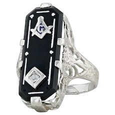 Masonic Onyx Diamond Women's Ring 14k White Gold Sz 4.5 Floral Filigree Art Deco