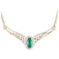 "1.23ctw Synthetic Emerald Diamond V Necklace - 14k Yellow Gold 16"" Stationary"