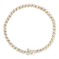 "1.75ctw Diamond S-Link Tennis Bracelet 14k Yellow Gold 7"" 4.3mm Women's Vintage"