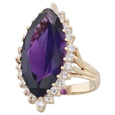 10.71ctw Amethyst Diamond Halo Ring - 14k Yellow Gold Size 6.5 Marquise Cocktail