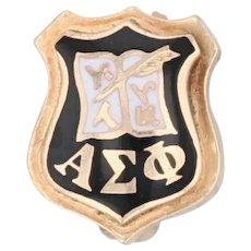 Alpha Sigma Phi Badge 14k Gold Enamel Vintage Fraternity Mini Pin Greek Society