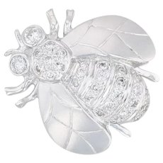 Diamond Bumble Bee Pendant Brooch - 18k White Gold Insect Jewelry Pin