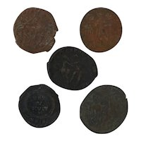 Ancient Artifacts Figural Roman Coin Set of Five