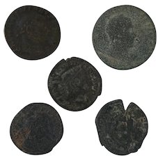 Ancient Coin Artifacts Figural Roman Set of Five