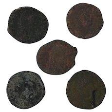 Ancient Artifact Figural Roman Coins Set of Five