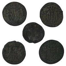 Ancient Artifact Set of 5 Coins Figural Roman
