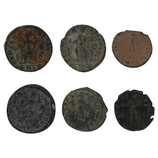 Ancient Artifact Set of Six Coins Figural Roman