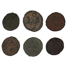 Ancient Artifact Set of 6 Coins Figural Roman