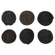 Ancient Artifact Coins Figural Roman Set of Six