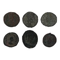 Ancient Artifact Figural Roman Coins Set of Six