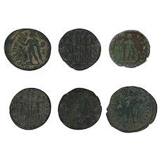 Ancient Coins Artifact Figural Roman Set of Six