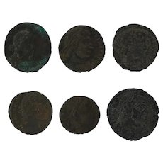 Ancient Coins Artifact Figural Roman Set of 6
