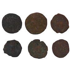 Ancient Artifact Roman Coins Figural Set of Six