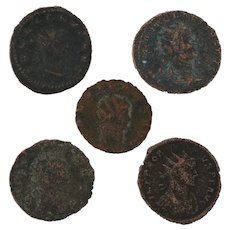 Mixed Coin Lot Ancient Artifact Set of Five Figural Roman