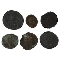 Mixed Coin Lot Ancient Artifact Set of 6 Figural Roman