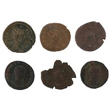 Mixed Lot of Six Coins Ancient Artifact Figural Roman