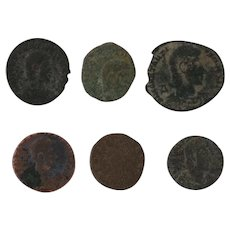 Mixed Lot of Six Ancient Coins Figural Roman Artifacts