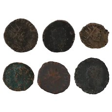Mixed Lot of 6 Ancient Coins Figural Roman Artifacts
