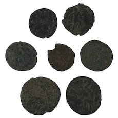 Mixed Ancient Coins Figural Roman Artifacts Lot of Seven