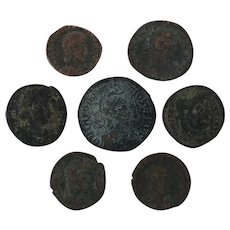 Mixed Ancient Coins Roman Artifacts Lot of 7 Figural