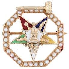 Order Eastern Star Pin 14k Gold Pearls Masonic Women's Gavel Officer Vintage