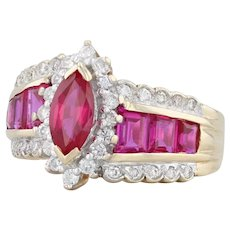2.19ctw Synthetic Ruby Diamond Ring - 14k Yellow Gold Size 6 Cocktail