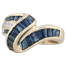 1.75 Blue Sapphire Cocktail Ring - 14k Yellow Gold Size 7.25 Diamond Accents