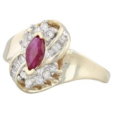 0.66ctw Ruby Diamond Halo Ring - 10k Yellow Gold Size 7.25 July Birthstone