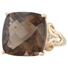14.25ct Smoky Quartz Diamond Ring - 10k Yellow Gold Size 7.5 Solitaire Cocktail