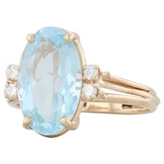 Vintage 3.84ctw Aquamarine Diamond Ring - 14k Yellow Gold Size 7 Oval Solitaire