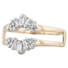 0.38ctw Diamond Ring Jacket - 14k Gold Size 7 Solitaire Enhancer