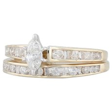 0.69ctw Diamond Wedding Band Engagement Ring - 10k Gold Bridal Set Size 7