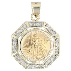 1999 Liberty Coin Pendant - 10k 22k Gold 0.48ctw Diamonds Keepsake