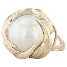Mabe Pearl Ring - 14k Yellow Gold Size 7 Solitaire Vintage Women's