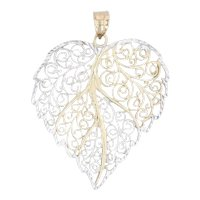 Filigree Leaf Pendant 10k White Yellow Gold Openwork Statement