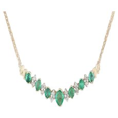 "0.98ctw Emerald Diamond V Necklace - 14k Yellow Gold 17"" Wheat Chain"