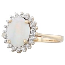 Opal Diamond Halo Ring - 10k Yellow Gold Size 7 Oval Solitaire