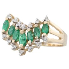 1.40ctw Emerald Diamond Contour V Ring - 14k Yellow Gold Size 7.5