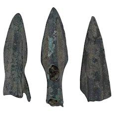 Ancient Arrowheads Rib Bladed Biblade Weaponry Patinaed Lot of 3