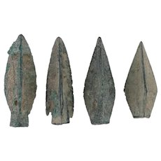 Ancient Arrowheads Lot of 4 Trilobate Triblade Pyramid Weaponry Patinaed
