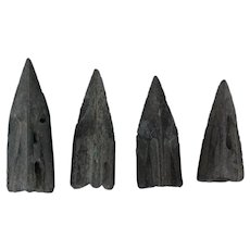 Ancient Arrowheads Triblade Trilobate Pyramid Patinaed Weaponry Lot of 4