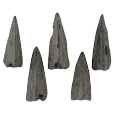 Lot of 5 Ancient Arrowheads Triblade Trilobate Pyramid Patinaed Weaponry