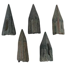 Ancient Arrowheads Lot of 5 Trilobate Triblade Pyramid Patinaed Weaponry