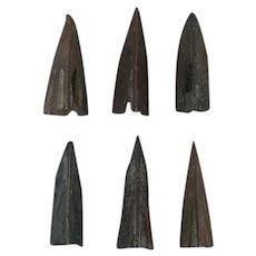 Ancient Weaponry Arrowheads Lot of 6 Trilobate Triblade Pyramid Patinaed
