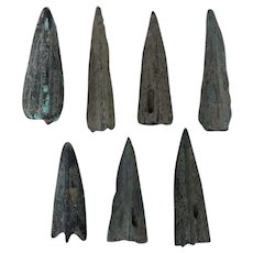 Ancient Weaponry Arrowheads Triblade Trilobate Pyramid Patinaed Lot of 7
