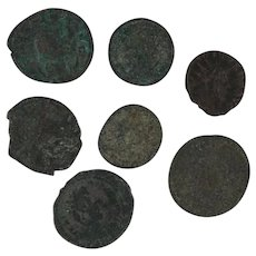 Mixed Lot of 7 Ancient Coins Figural Roman Artifacts