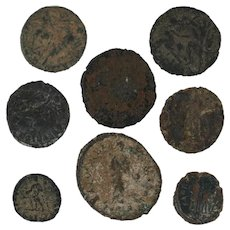 Mixed Roman Coins Figural Ancient Artifacts Lot of 8