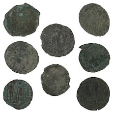 Mixed Ancient Coins Lot of 8 Roman Artifacts Figural