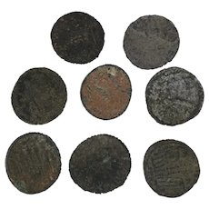 Lot of 8 Mixed Ancient Coins Roman Artifacts Figural