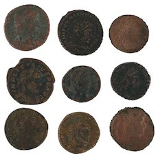 Mixed Lot of 9 Ancient Coins Roman Artifacts Figural